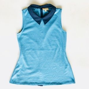 ModCloth Anthro Blue Pointy Collar Women's  Top